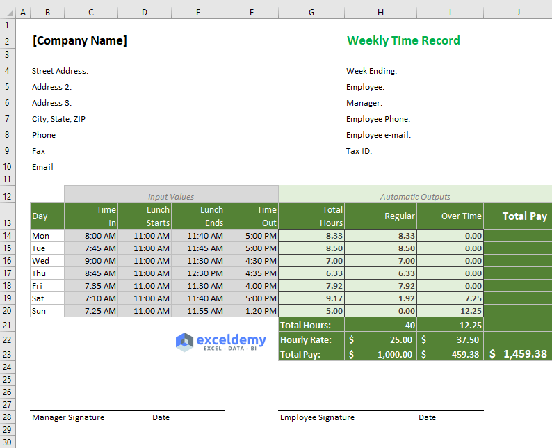 excel formula for overtime over 40 hours  with free template
