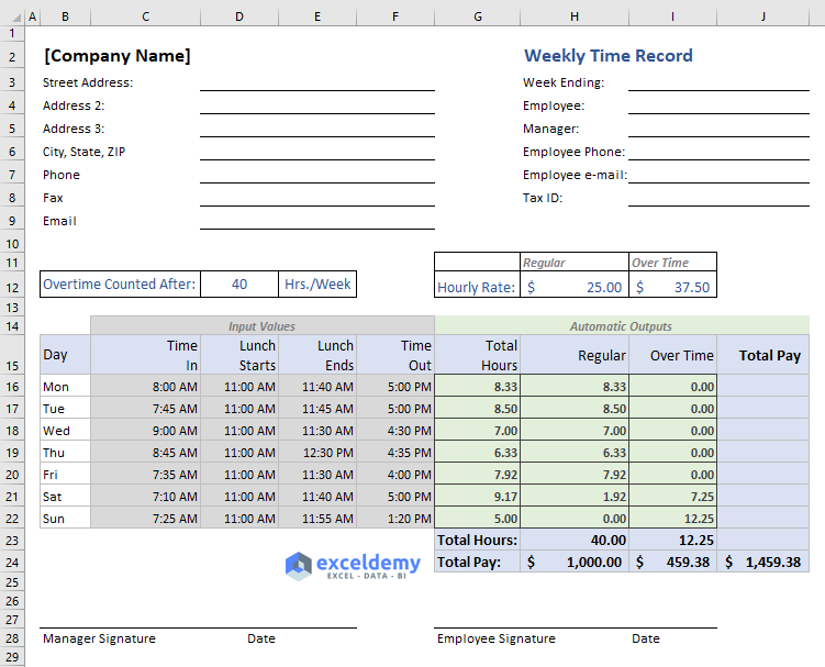 Excel formula to calculate hours worked and overtime [with