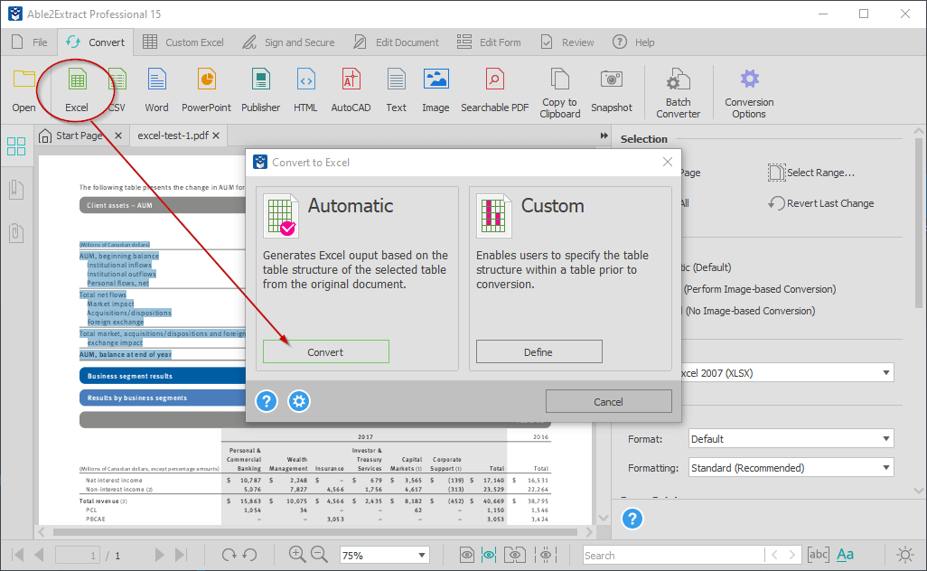 Convert PDF to Excel Able2Extract Professional