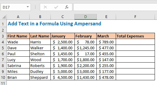 Add Text in a Formula Using Ampersand