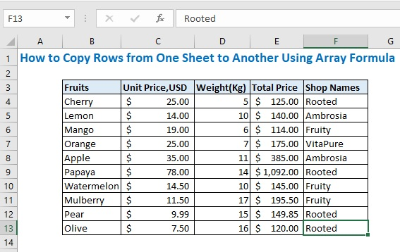 How to Copy Rows from One Sheet to Another Using Array Formula