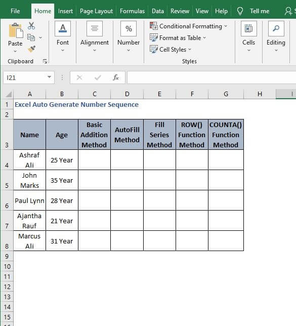 Excel Sheet - Excel Auto Generate Number Sequence