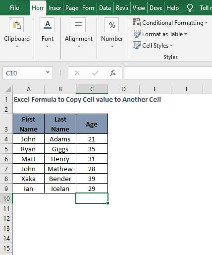Excel Sheet - Excel Formula to Copy Cell value to Another Cell