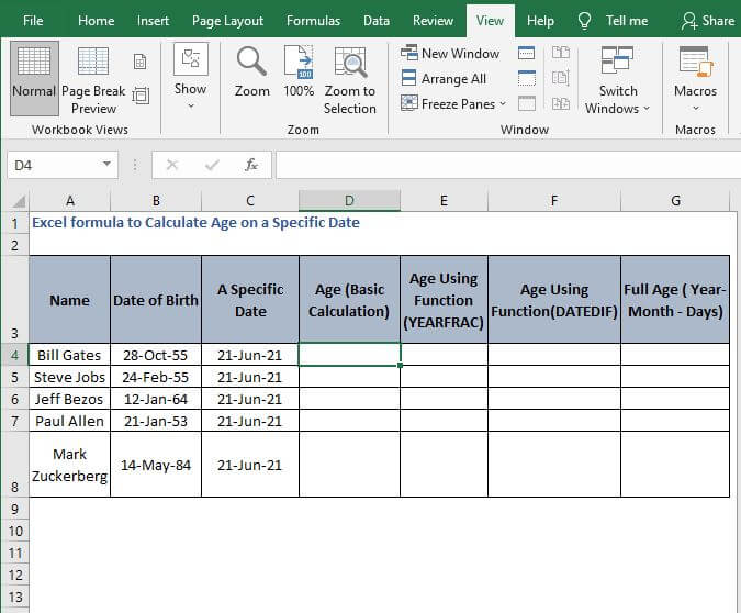 Excel sheet- Excel formula to Calculate Age on a Specific Date