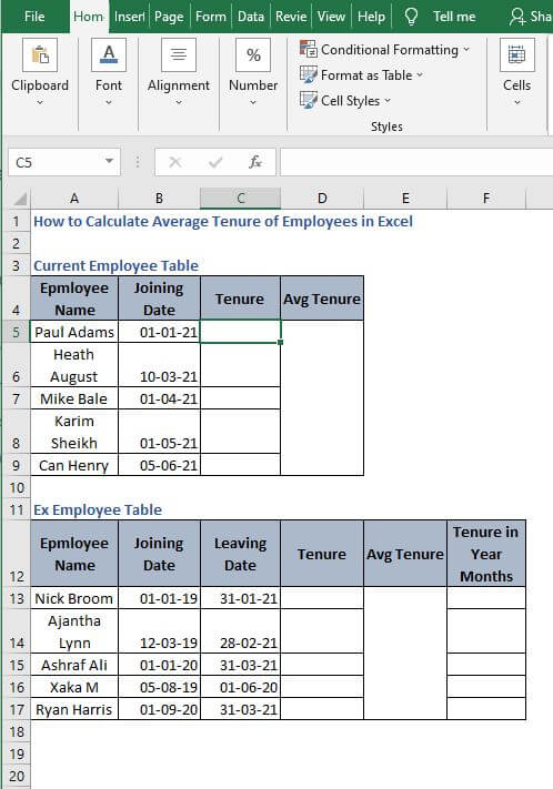 Excel Sheet - How to Calculate Average Tenure of Employees in Excel