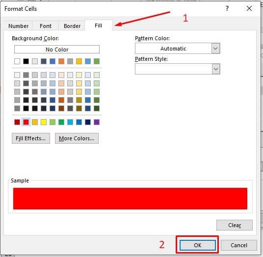 Fill Formatting