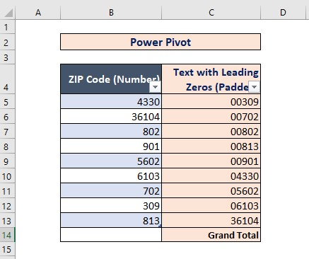 Power Pivot to Convert Number to Text with Leading Zeros