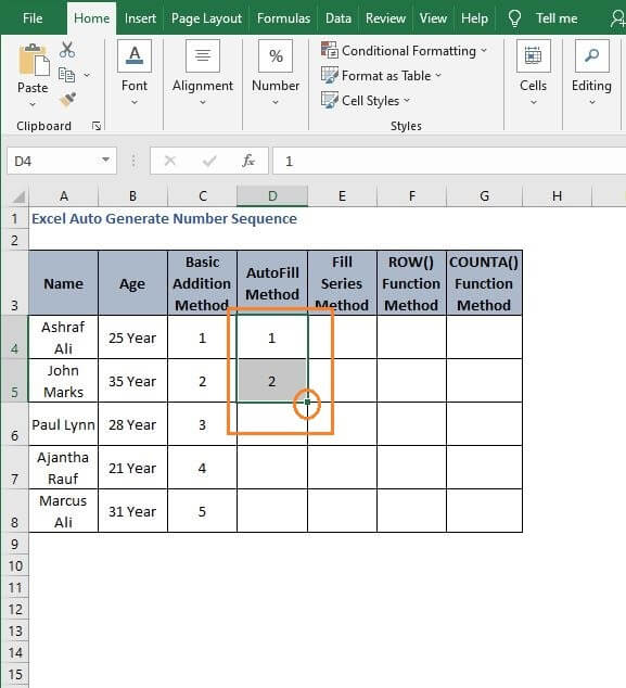 Fill Handle Pattern - Excel Auto Generate Number Sequence