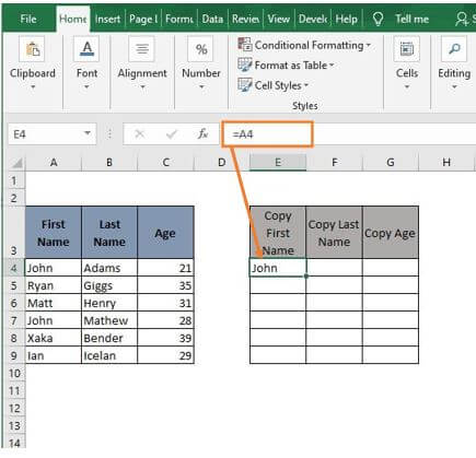 Cell Reference - Excel Formula to Copy Cell value to Another Cell