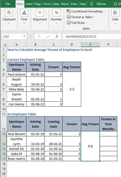 Average in static example - How to Calculate Average Tenure of Employees in Excel