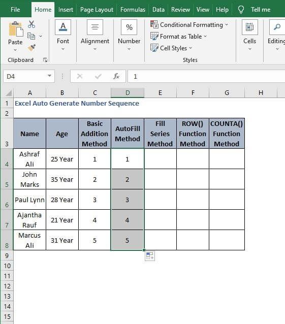 Fill Handle Apply - Excel Auto Generate Number Sequence