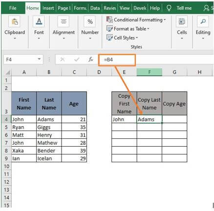 Cell reference 2 - Excel Formula to Copy Cell value to Another Cell