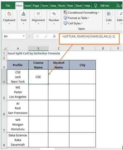 CHAR Left - Excel Split Cell by Delimiter Formula