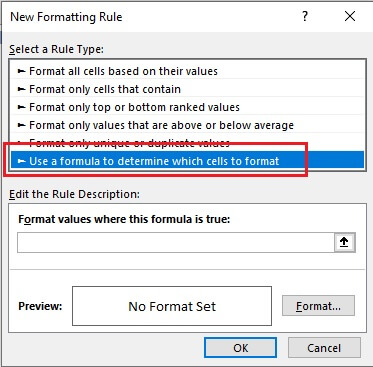Select Use a formula to determine which cells to format option.