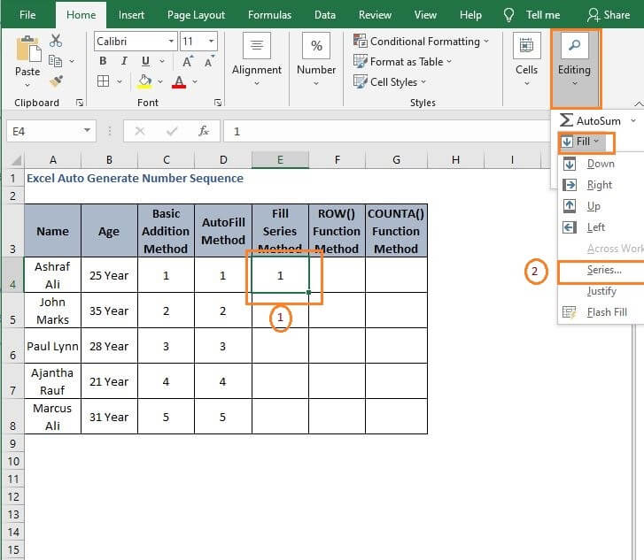 Fill Series - Excel Auto Generate Number Sequence