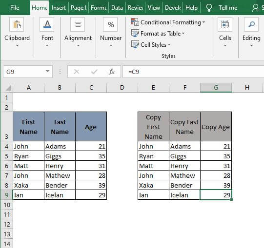 Complete copy cell reference - Excel Formula to Copy Cell value to Another Cell