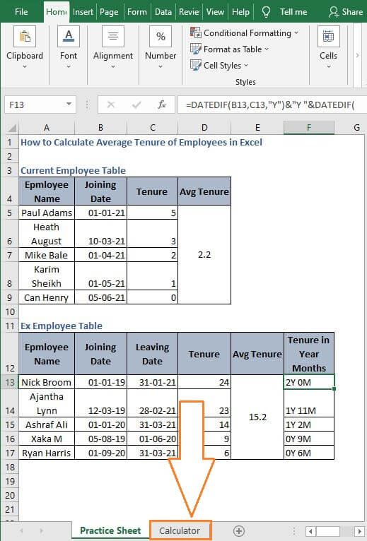 Calculator sheet - How to Calculate Average Tenure of Employees in Excel