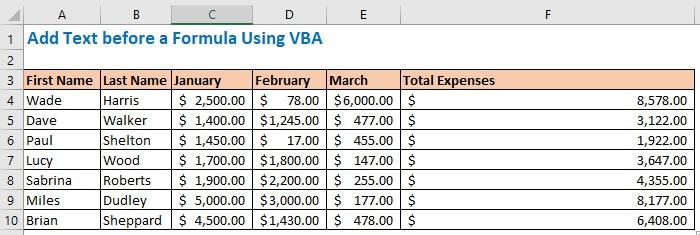 Add Text before a Formula Using VBA