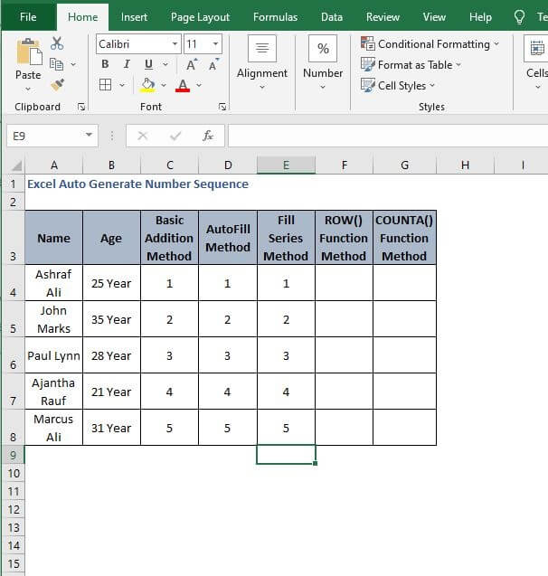 Fill Series Output - Excel Auto Generate Number Sequence