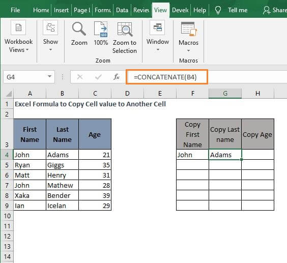 CONCATENATE copy 2 - Excel Formula to Copy Cell value to Another Cell