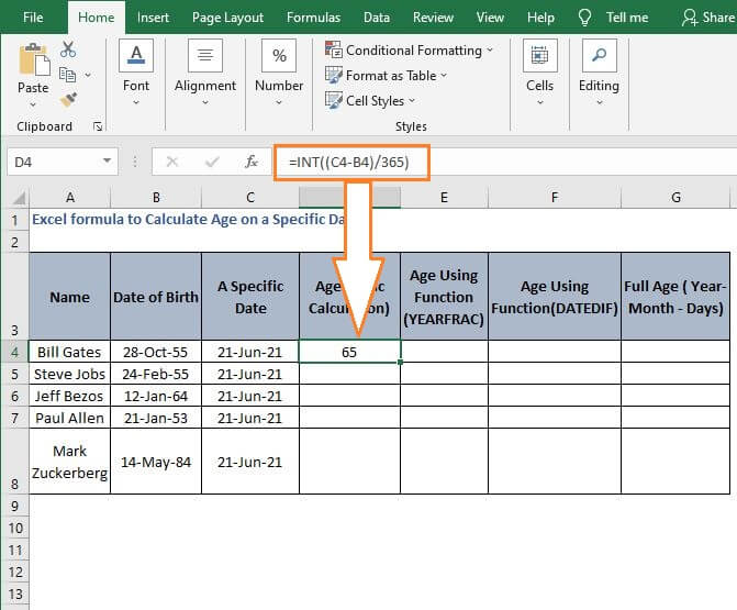 INT age calculation - Excel formula to Calculate Age on a Specific Date