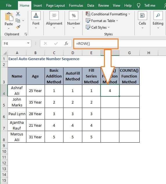 ROW() - Excel Auto Generate Number Sequence