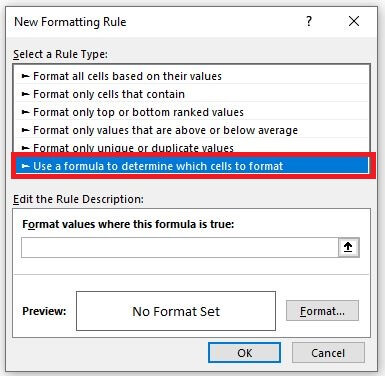 New Formatting Rule box in Excel