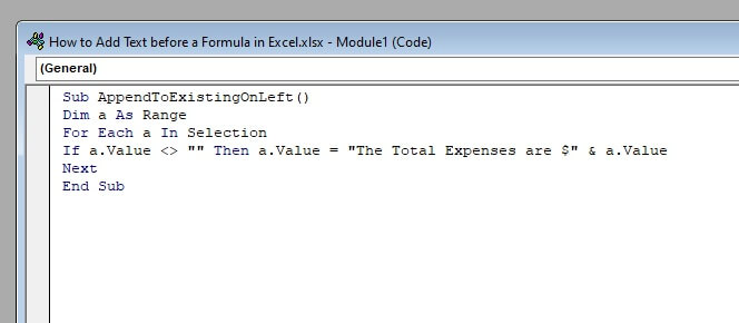 Then enter the code in the Module window