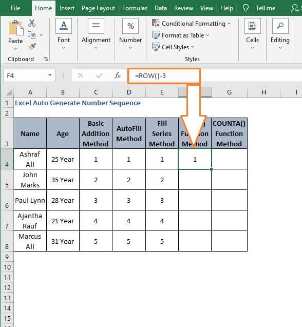 Number generate from ROW() - Excel Auto Generate Number Sequence