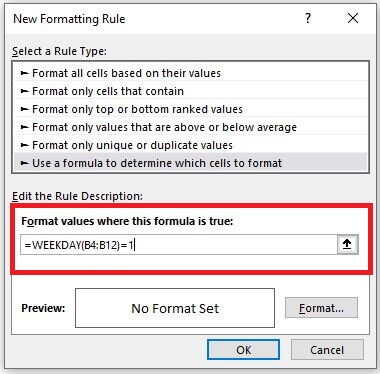 Inserting Formula into New Formatting Rule box in Excel