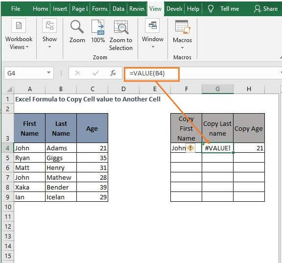 VALUE garbage - Excel Formula to Copy Cell value to Another Cell
