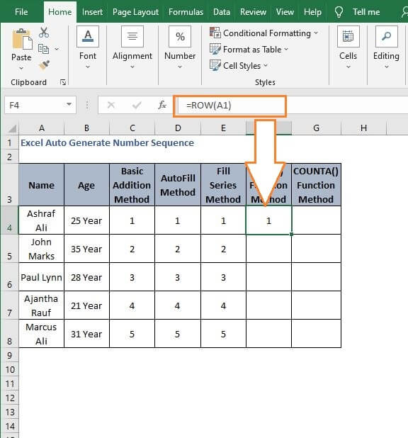 Another ROW method - Excel Auto Generate Number Sequence