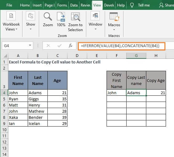 IFERROR VALUE - Excel Formula to Copy Cell value to Another Cell