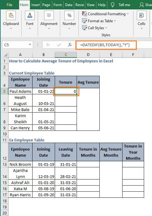 Show mismatch format - How to Calculate Average Tenure of Employees in Excel