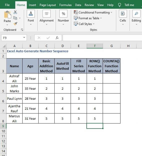 AutoFill Row generate - Excel Auto Generate Number Sequence
