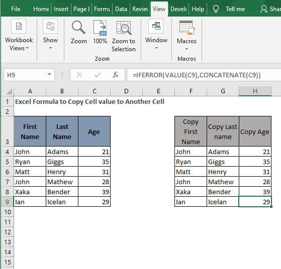 All example IFFERROR- Excel Formula to Copy Cell value to Another Cell