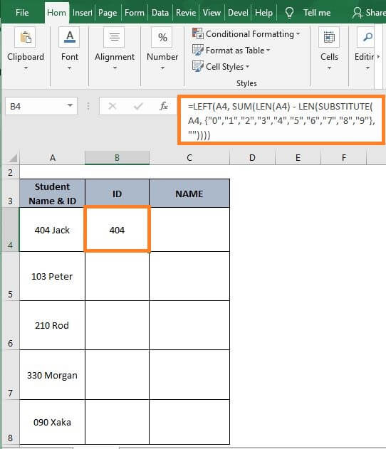 Number-text-Excel Split Cell by Delimiter Formula
