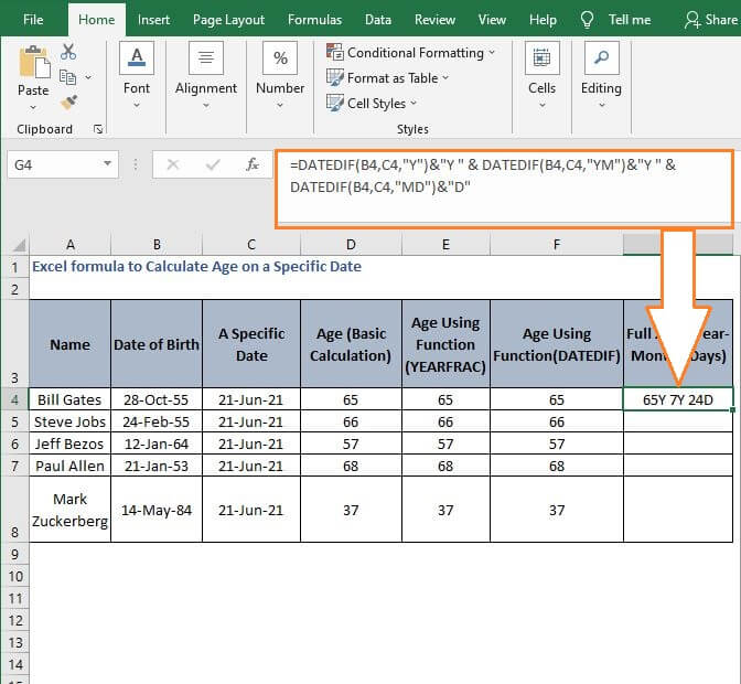 Age Full - 18.Excel formula to Calculate Age on a Specific Date