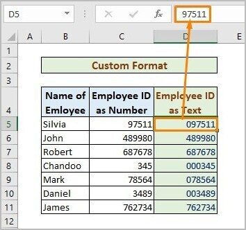 Custom Format to Store Number As Text