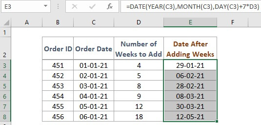 Employing the DATE Function to add weeks to a date in excel