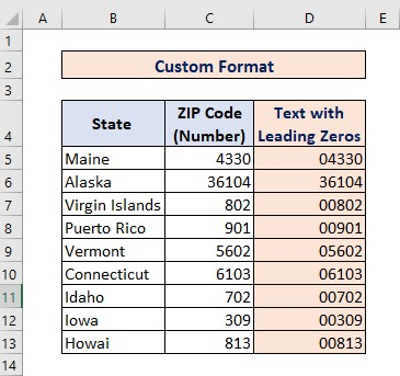 Custom Format using Format Cells for Converting Number to Text with Leading Zeros
