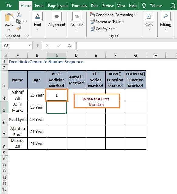 Input for sequence generate - Excel Auto Generate Number Sequence