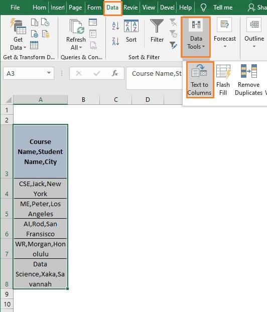 Data Tab-Excel Split Cell by Delimiter Formula