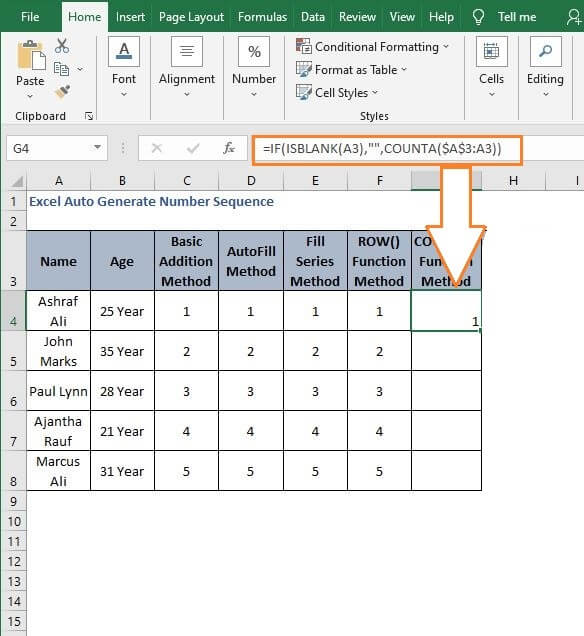 Counta sequence generator - Excel Auto Generate Number Sequence