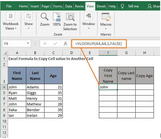 VLOOKUP - Excel Formula to Copy Cell value to Another Cell