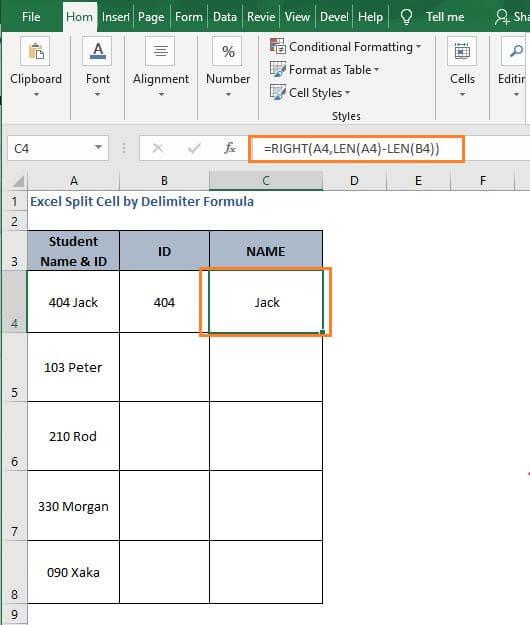Num Text 2-Excel Split Cell by Delimiter Formula
