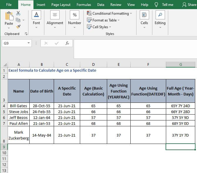 Fill full age - 18.Excel formula to Calculate Age on a Specific Date
