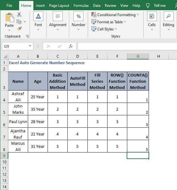 Autofill counta - Excel Auto Generate Number Sequence