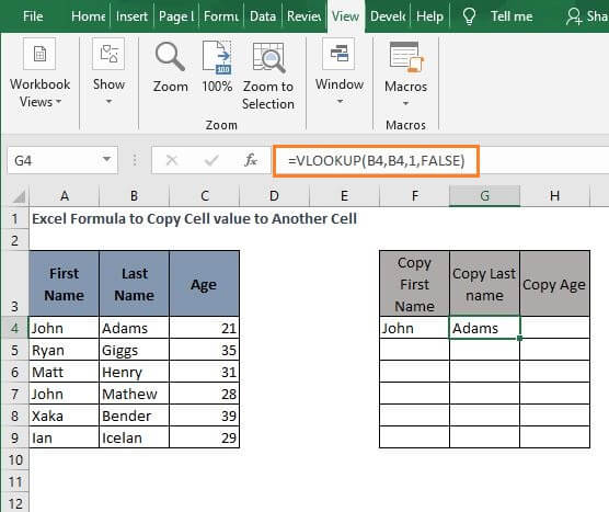 VLOOKUP 2 -Excel Formula to Copy Cell value to Another Cell