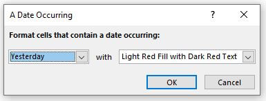 A Date Occurring box in Excel